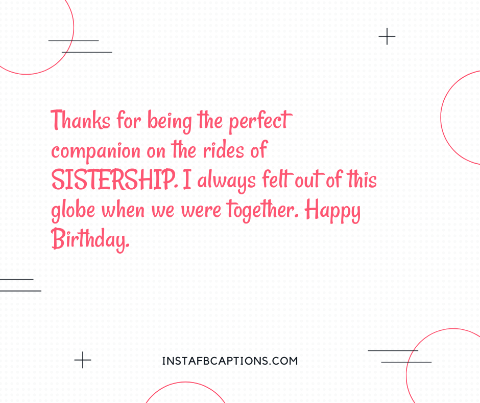 Birthday Captions for Boyfriend  - Thanks for being the perfect companion on the rides of SISTERSHIP - 300+ Best Instagram Birthday Captions (Sister, Brother, Best friend)
