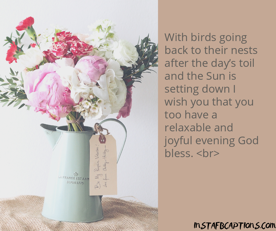 Romantic Captions  - With birds going back to their nests after the day   s toil and the Sun is setting down I wish you that you too have a relaxable and joyful evening God bless - 250+ Good Evening Captions for Instagram (Sunset  Colorful Shadow Romantic)