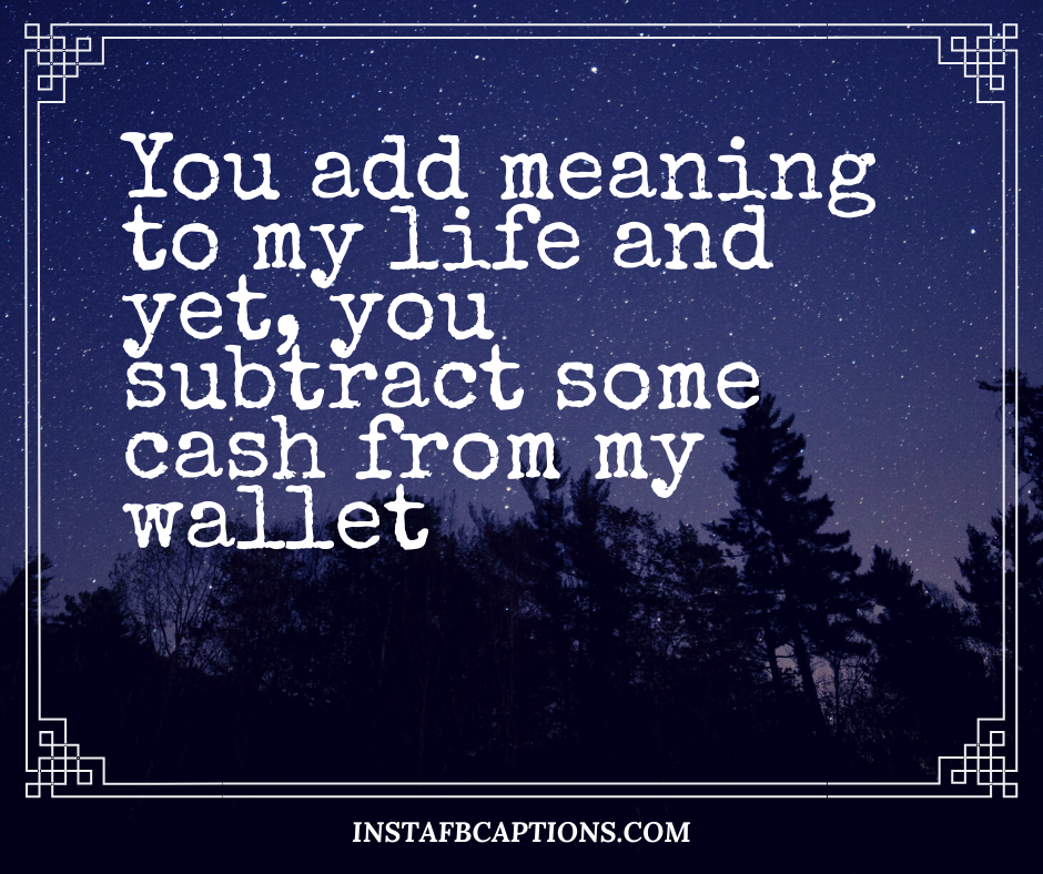 Funny Captions  - You add meaning to my life and yet you subtract some cash from my wallet - 230+ Cute Instagram captions for Girlfriend (Funny Smile Love)