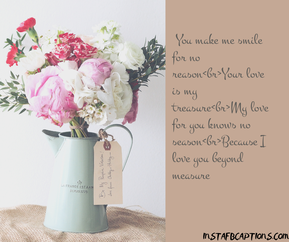Anniversary Wishes For Wife  - You make me smile for no reasonbrYour love is my treasurebrMy love for you knows no seasonbrBecause I love you beyond measure  - 240+ Love Messages and Quotes for Wife (Birthday Anniversary Hindi )