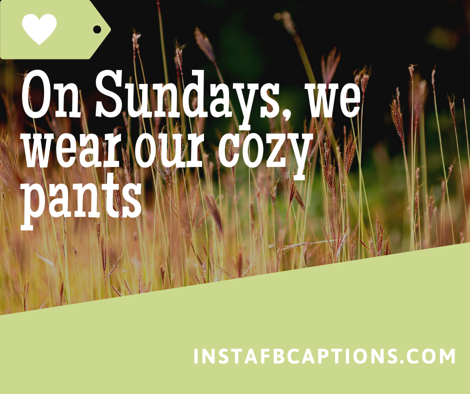 Best Caption for Happy Sunday  - On Sundays we wear our cozy pants - 50+ SUNDAY Instagram Captions 2021