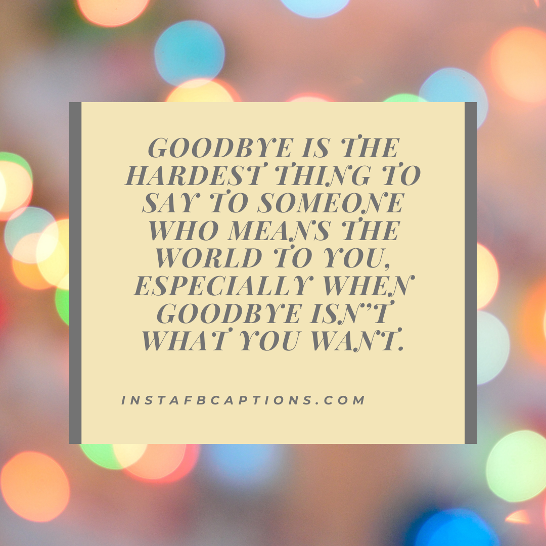 Goodbye Is The Hardest Thing To Say To Someone Who Means The World To You, Especially When Goodbye Isn't What You Want. (1)  - Goodbye is the hardest thing to say to someone who means the world to you especially when goodbye isn   t what you want - Vidaai Captions For Instagram || (Sad Funny Bride)