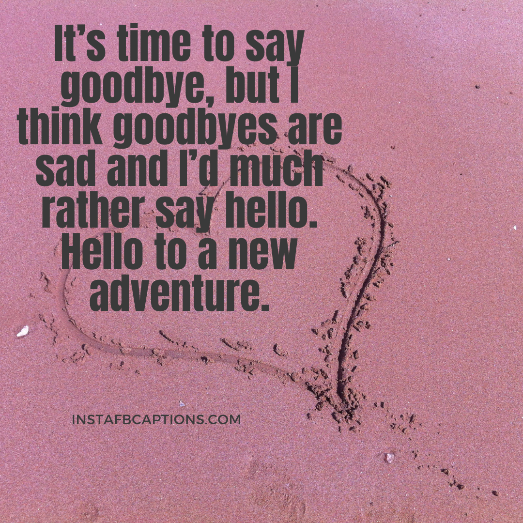 It's Time To Say Goodbye, But I Think Goodbyes Are Sad And I'd Much Rather Say Hello. Hello To A New Adventure. (1)  - It   s time to say goodbye but I think goodbyes are sad and I   d much rather say hello - Vidaai Captions For Instagram || (Sad Funny Bride)