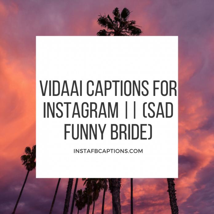 Vidaai Captions For Instagram (sad Funny Bride)