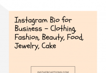 Instagram Bio For Business Clothing, Fashion, Beauty, Food, Jewelry, Cake