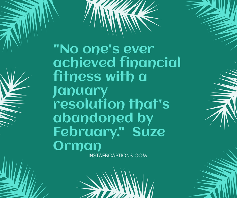 Snow Captions for Instagram  - No ones ever achieved financial fitness with a January resolution thats abandoned by February - January Quotes, Captions, Sayings and Poems || (Funny Calendar Born Snow)