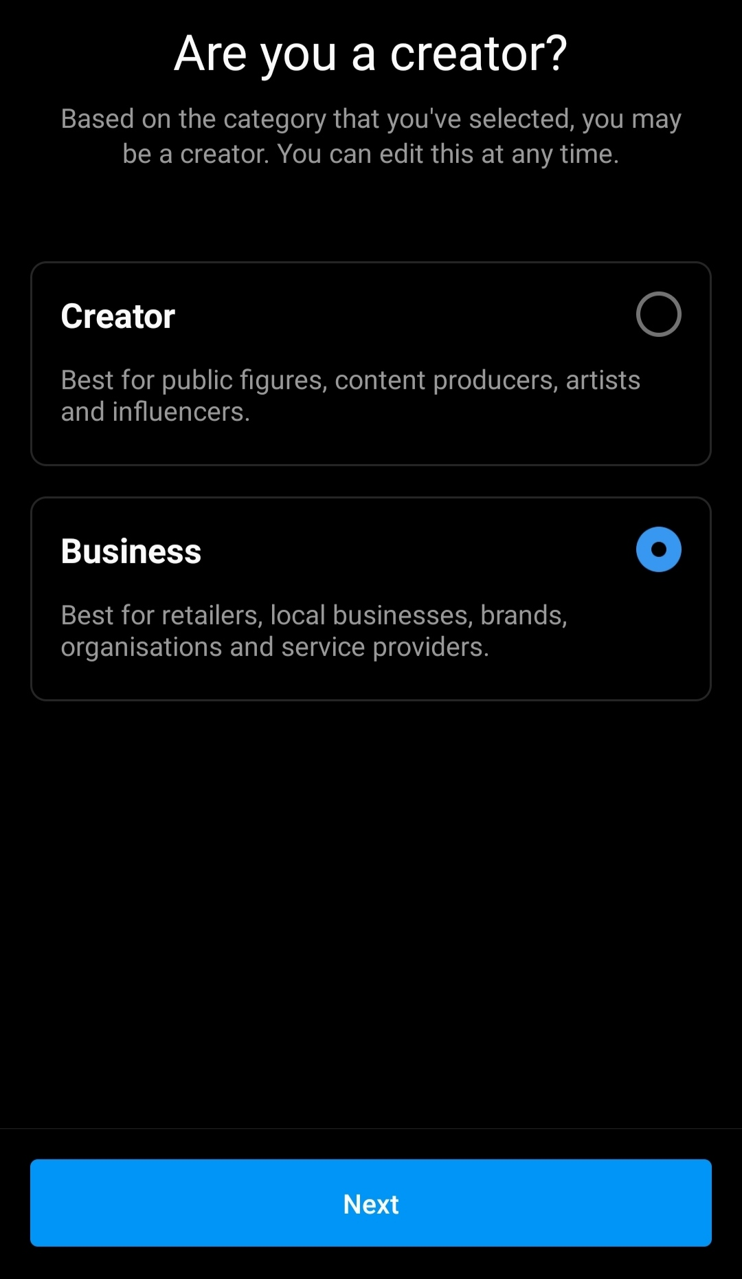 Choose Business Or Creator  - Choose Business or Creator - How to Set Up Instagram Shop for Online Business?