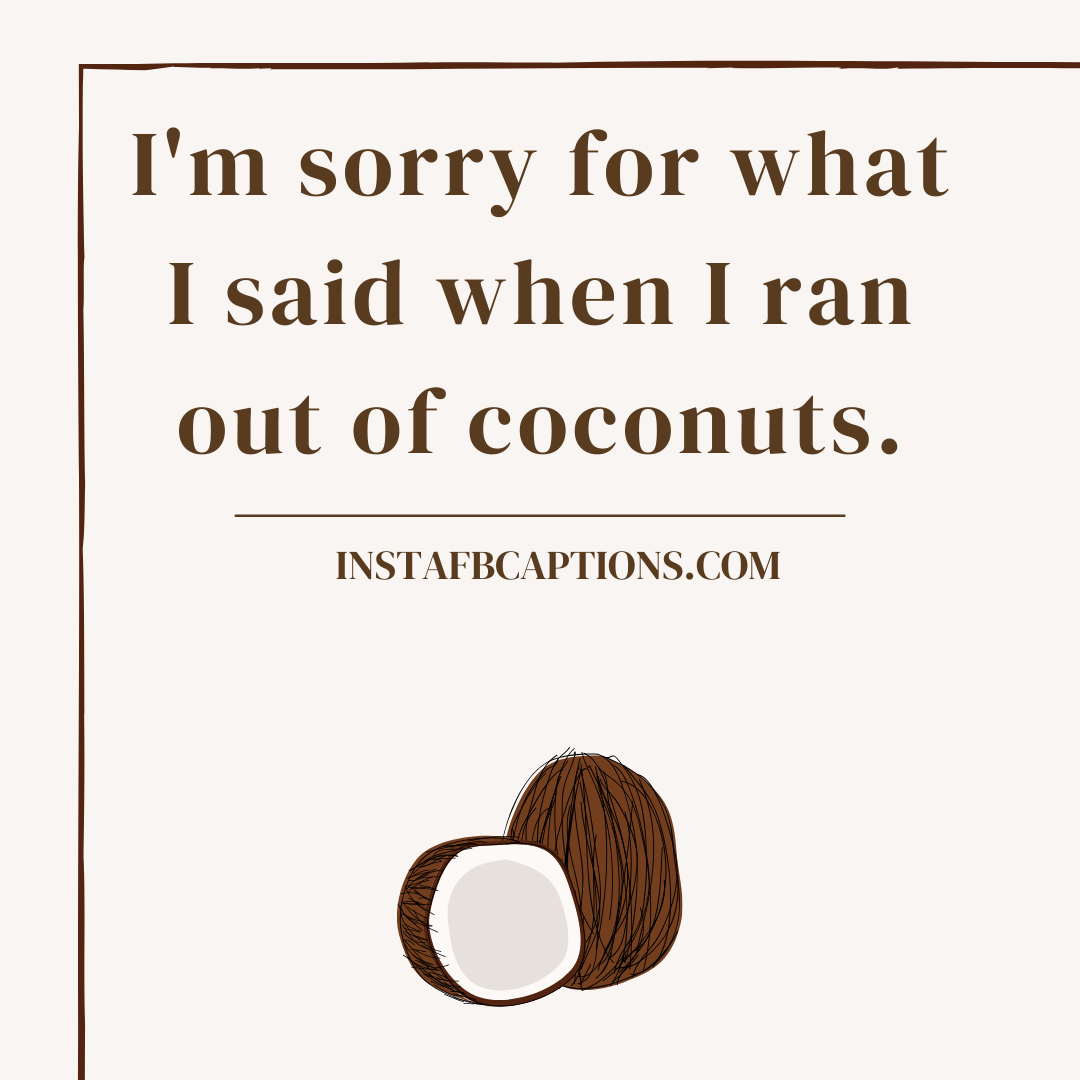 Funny Coconut Captions For Instagram  - Funny Coconut Captions for Instagram - 57 Coconut Captions and Quotes for Instagram in 2021